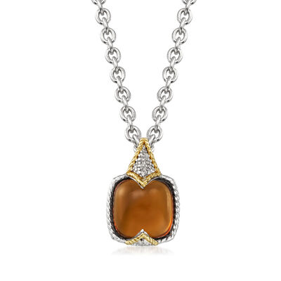 "Andrea Candela ""Dulcitos"" 4.41 Carat Cognac Quartz Pendant Necklace in Sterling Silver and 18kt Yellow Gold, , default"