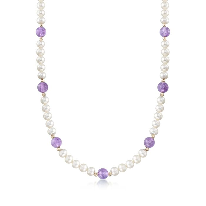 "6.5-7mm Cultured Pearl and 30.00 ct. t.w. Amethyst Bead Necklace With 14kt Yellow Gold. 18"", , default"