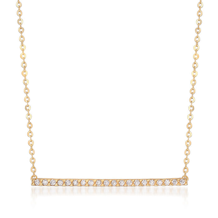 Italian 14kt Yellow Gold Bar Necklace with White Zircon Accents, , default