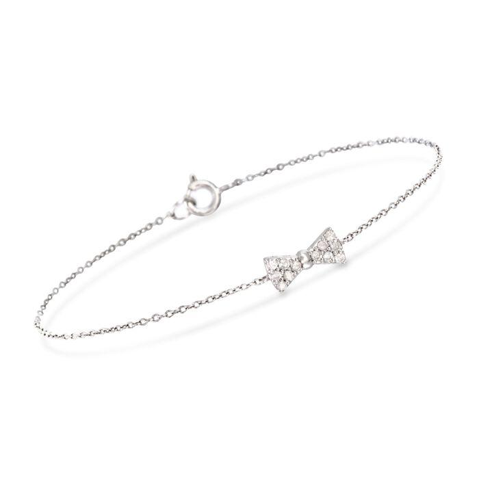 """.18 ct. t.w. Diamond Bow Tie Bracelet in Sterling Silver. 7"""", , default"""