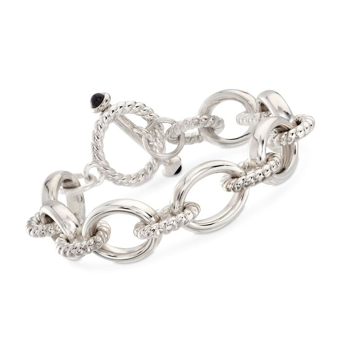 """Andiamo Sterling Silver Link Toggle Bracelet with Black Onyx. 7"""", , default"""