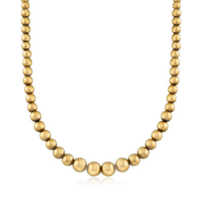 C. 1980 Vintage 18kt Yellow Gold Graduated Bead Necklace, , default