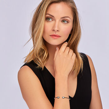 ".20 ct. t.w. Diamond Cuff Bracelet with Black Enamel in 18kt White Gold. 7"""