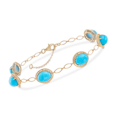 Stabilized Turquoise Bracelet in 14kt Yellow Gold, , default
