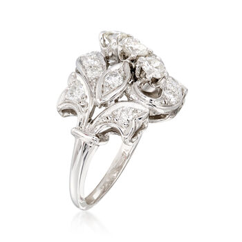 C. 1980 Vintage 1.25 ct. t.w. Diamond Swirl Ring in 14kt White Gold. Size 5.5, , default