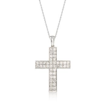 "2.00 ct. t.w. Diamond Double-Row Cross Pendant Necklace in 14kt White Gold. 18"", , default"