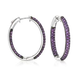 5.00 ct. t.w. Amethyst Inside-Outside Hoop Earrings in Sterling Silver, , default