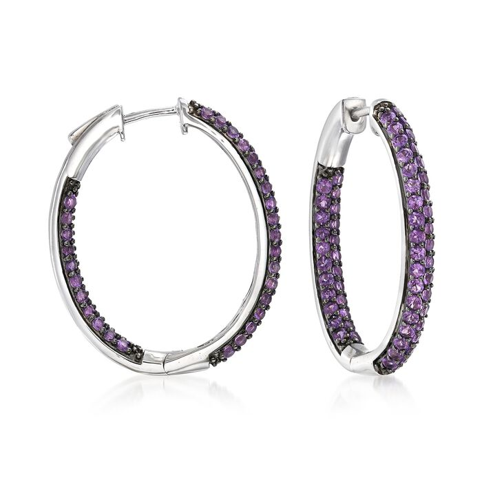 "5.00 ct. t.w. Amethyst Inside-Outside Hoop Earrings in Sterling Silver. 1 1/4"", , default"