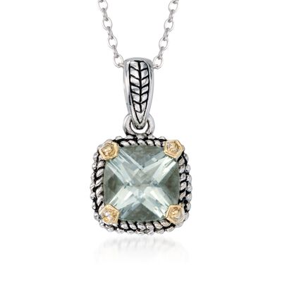 1.90 Carat Green Prasiolite Necklace in Sterling Silver and 14kt Yellow Gold