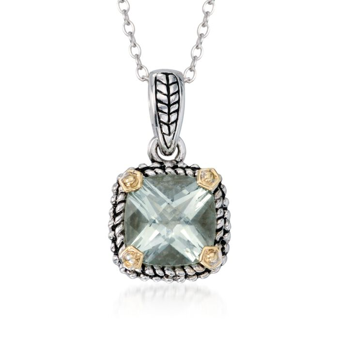 """1.90 Carat Green Prasiolite  Necklace in Sterling Silver and 14kt Yellow Gold. 18"""""""