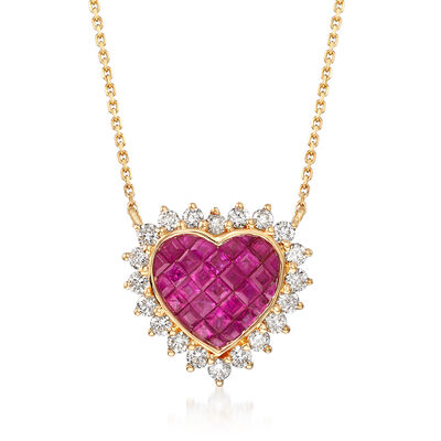 1.50 ct. t.w. Ruby and .68 ct. t.w. Diamond Heart Necklace in 18kt Yellow Gold, , default