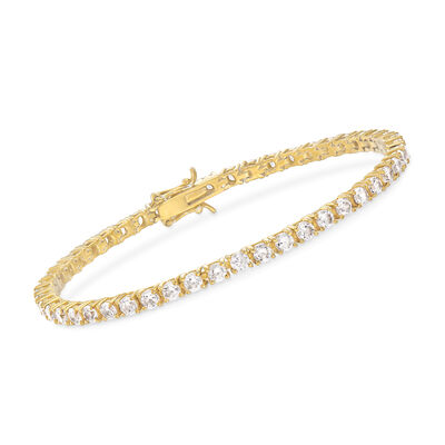 5.00 ct. t.w. CZ Tennis Bracelet in 14kt Gold Over Sterling, , default