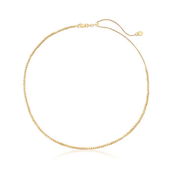 14kt Yellow Gold Diamond-Cut Cable Chain Choker Necklace , , default