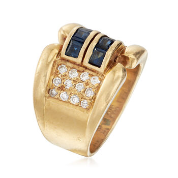 C. 1990 Vintage 1.00 ct. t.w. Sapphire and .60 ct. t.w. Diamond Ring in 18kt Yellow Gold. Size 7.5