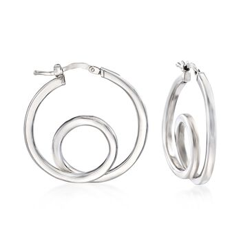 "Italian Sterling Silver Twisted Hoop Earrings. 1 1/8"", , default"