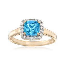 1.10 Carat Swiss Blue Topaz and .17 ct. t.w. Diamond Ring in 14kt Yellow Gold, , default
