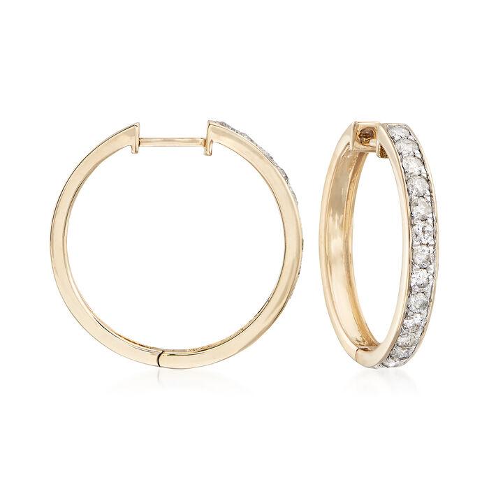 """1.00 ct. t.w. Diamond Hoop Earrings in 14kt Yellow Gold. 3/4"""", , default"""