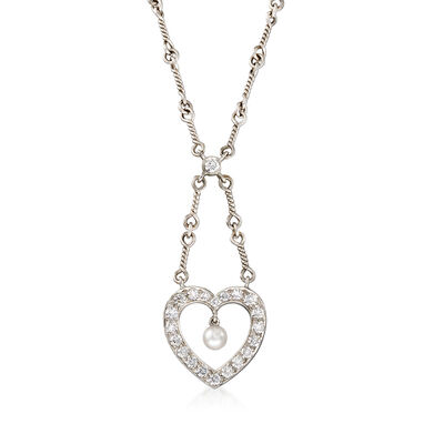 C. 1990 Vintage Tiffany Jewelry 3.8mm Cultured Pearl and .90 ct. t.w. Diamond Heart Necklace in Platinum