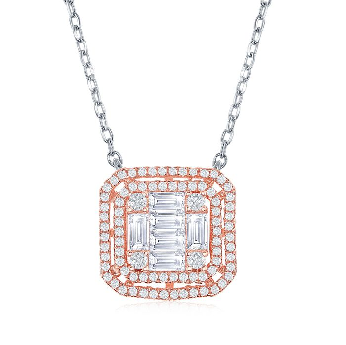"""1.33 ct. t.w. Baguette and Round CZ Square Necklace in Two-Tone Sterling Silver. 16"""", , default"""