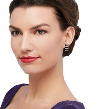 "Belle Etoile ""Regal"" Black Onyx and .36 ct. t.w. CZ Hoop Earrings in Sterling Silver. 5/8"", , default"
