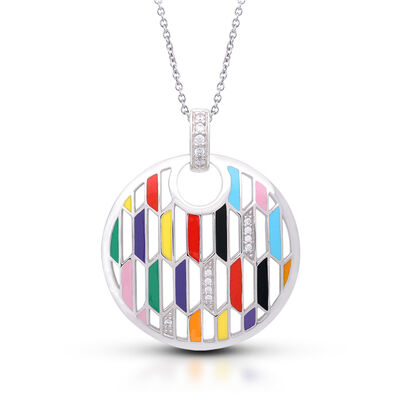 """Belle Etoile """"Trapezio"""" Multicolored Enamel and .14 ct. t.w. CZ Circle Pendant in Sterling Silver"""