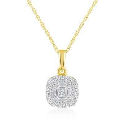 .25 ct. t.w. Baguette and Round Diamond Square Cluster Pendant Necklace in 14kt Yellow Gold