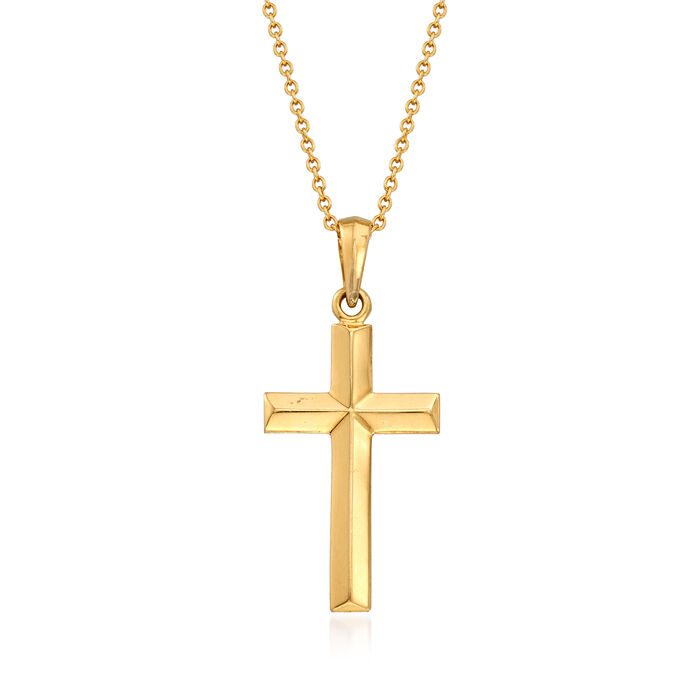 "C. 1980 Vintage 14kt Yellow Gold Cross Pendant Necklace. 18"""