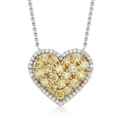 1.03 ct. t.w. Yellow and White Diamond Heart Necklace, , default