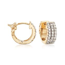 ".75 ct. t.w. Diamond Huggie Hoop Earrings in 14kt Yellow Gold. 3/8"", , default"
