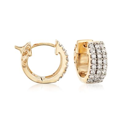 .75 ct. t.w. Diamond Huggie Hoop Earrings in 14kt Yellow Gold, , default