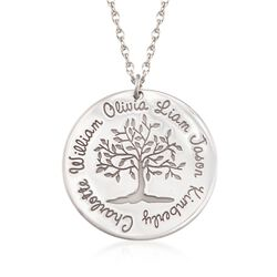 """Sterling Silver Personalized Family Tree Pendant Necklace. 18"""", , default"""