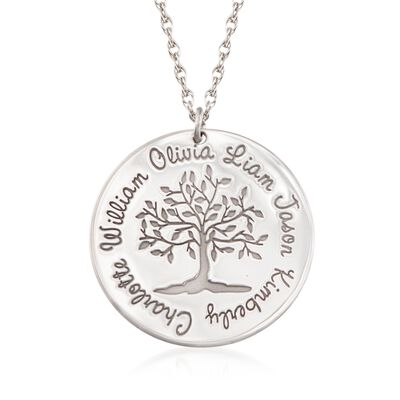 Sterling Silver Personalized Family Tree Pendant Necklace, , default