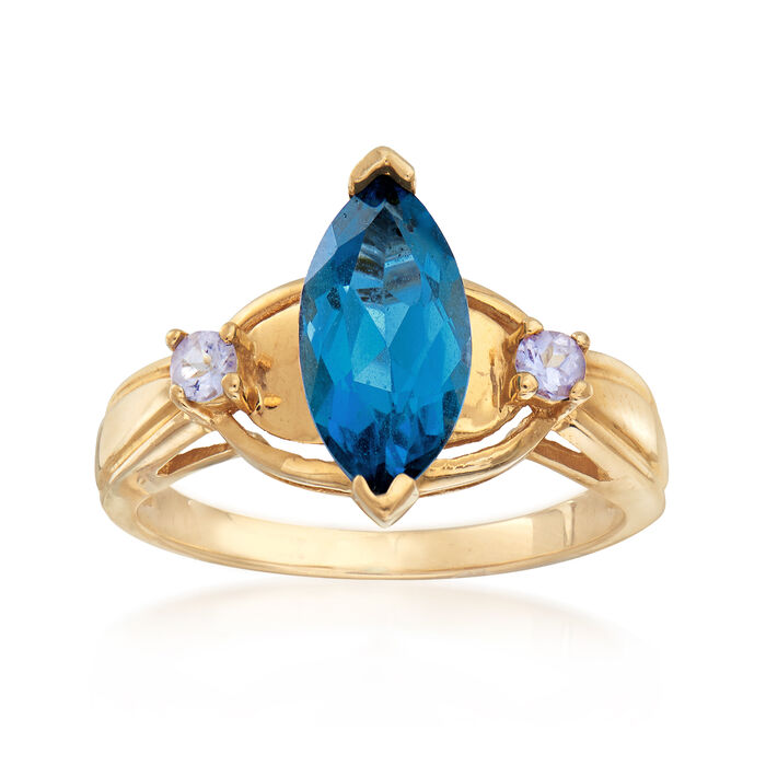 C. 1990 1.75 Carat Blue Topaz and .10 ct. t.w. Purple Tanzanite in 10kt Yellow Gold. Size 7, , default