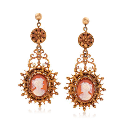 C. 1940 Vintage Cultured Pearl and Red Agate Cameo Drop Earrings in 18kt Yellow Gold