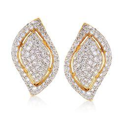 C. 1980 Vintage 2.00 ct. t.w. Diamond Leaf Earrings in 18kt Yellow Gold, , default