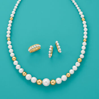 4-4.5mm Cultured Pearl Hoop Earrings in 14kt Yellow Gold