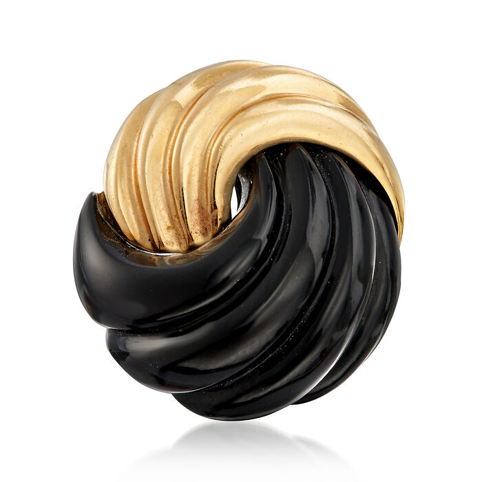 C. 1980 Vintage Onyx Swirl Ring in 14kt Yellow Gold. Size 6, , default