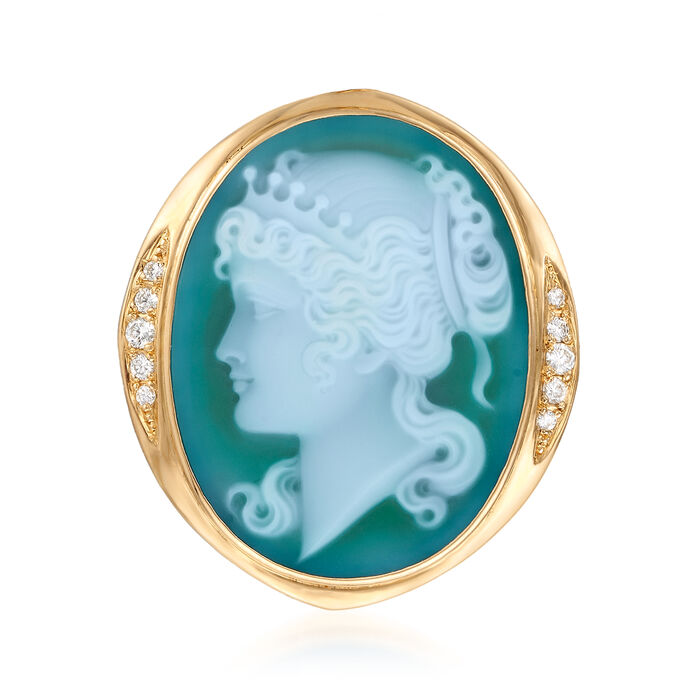 C. 1980 Vintage Green Agate and .30 ct. t.w. Diamond Cameo Pin/Pendant in 18kt Yellow Gold