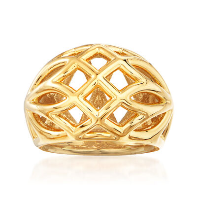 Italian Andiamo 14kt Yellow Gold Openwork Dome Ring