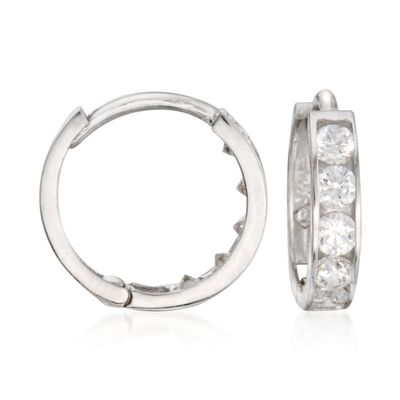 Child's .15 ct. t.w. CZ Hoop Earrings in 14kt White Gold    , , default