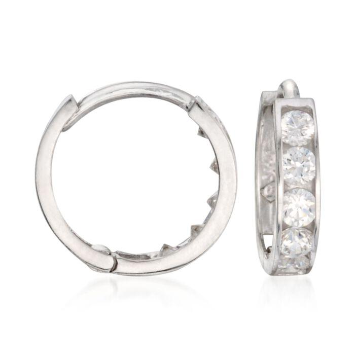 "Child's .15 ct. t.w. CZ Hoop Earrings in 14kt White Gold. 3/8"", , default"
