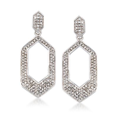 .33 ct. t.w. Diamond Hexagon Drop Earrings in Sterling Silver, , default
