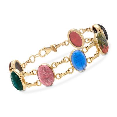 Multi-Stone Scarab Bracelet in 18kt Gold Over Sterling