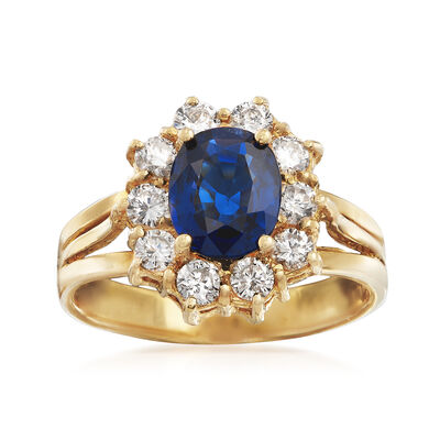 C. 1980 Vintage 1.48 Carat Sapphire and .70 ct. t.w. Diamond Ring in 18kt Yellow Gold, , default