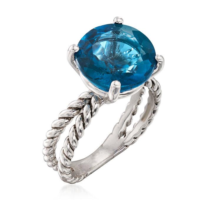 6.75 Carat London Blue Topaz Ring in Sterling Silver