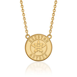 "14kt Yellow Gold MLB Houston Astros Pendant Necklace. 18"", , default"