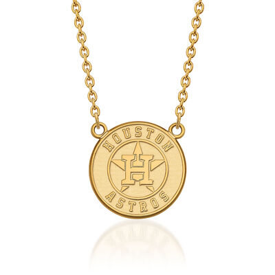 "14kt Yellow Gold MLB Houston Astros Pendant Necklace. 18"", , default"