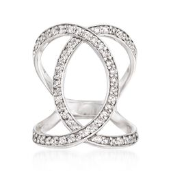 .95 ct. t.w. Diamond Open Loop Ring in 14kt White Gold, , default
