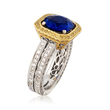 C. 1990 Vintage 2.93 Carat Sapphire and 1.60 ct. t.w. Yellow and White Diamond Ring in Platinum. Size 4.5, , default