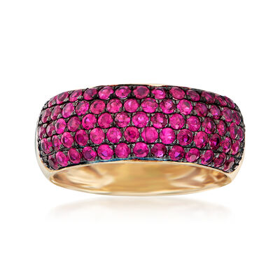 1.20 ct. t.w. Ruby Multi-Row Ring in 14kt Yellow Gold, , default